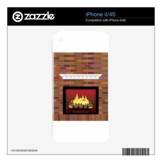 Brick Fireplace vector Decal For iPhone 4