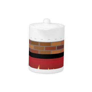 Brick Fireplace vector Teapot