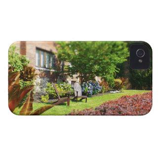 Brick Home, Adirondack Wooden Chairs, Shrubs Plaza iPhone 4 Case-Mate Case