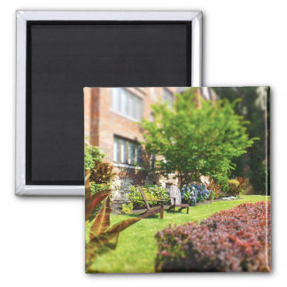 Brick Home, Adirondack Wooden Chairs, Shrubs Plaza Magnet