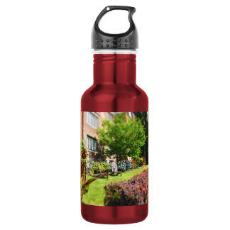 Brick Home, Adirondack Wooden Chairs, Shrubs Plaza Stainless Steel Water Bottle