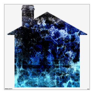 Brick House with Big Blue Crack Wall Decal