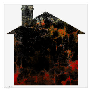 Brick House with Big Red Crack Room Graphics