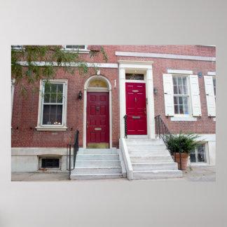 Brick Houses Red Doors Poster