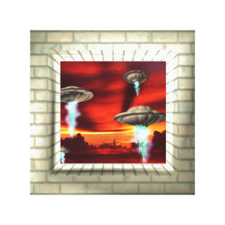 Brick illusion canvas frame UFO rise at sunset Stretched Canvas Print