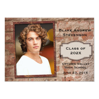 Brick Look Photo Graduation 5x7 Paper Invitation Card