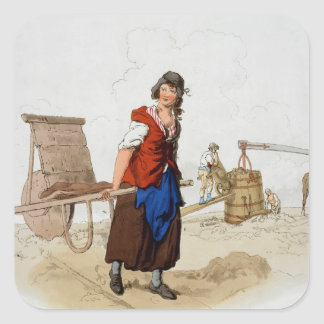 Brick Maker, from 'Costume of Great Britain', publ Square Sticker