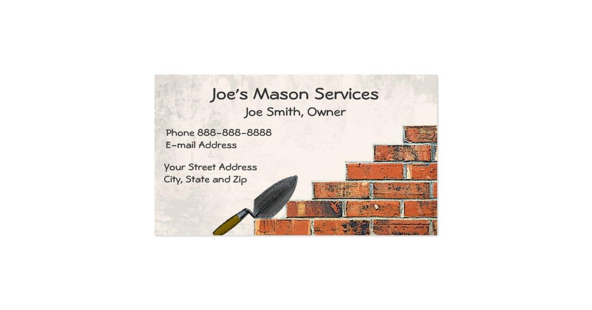 Brick Mason Masonry Business Card Zazzle