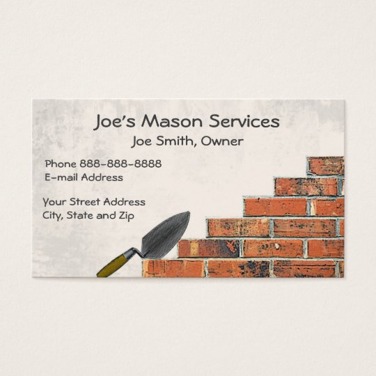 Brick mason masonry business card zazzlecom for Masonry business card ideas