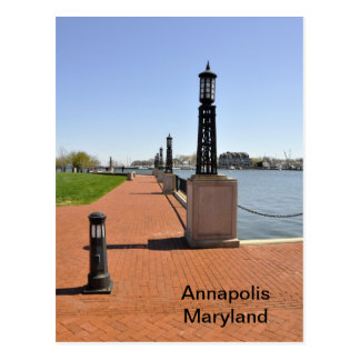 Brick pier by bay in Annapolis, Maryland Postcard