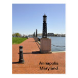 Brick pier by bay in Annapolis, Maryland Postcards