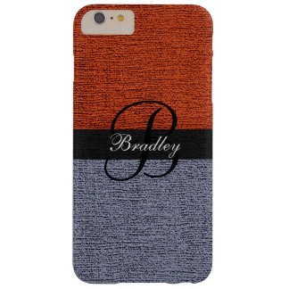 Brick Red and Gray Elegant Monogram Barely There iPhone 6 Plus Case