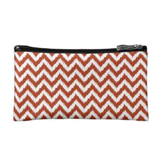 Brick Red Chevron Ikat Pattern Cosmetic Bags