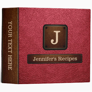 Brick Red Elegant Recipe Leather Look 3 Ring Binder