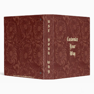Brick Red Floral Tool Leather Print Avery Binder