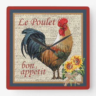 Brick Red French Country Kitchen-Rooster Square Wall Clock