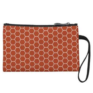 Brick Red Geometric Honeycomb Pattern Wristlet Clutches