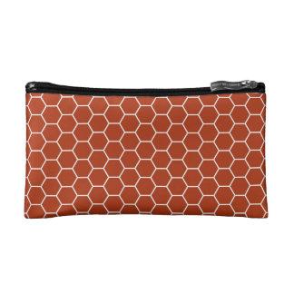 Brick Red Geometric Honeycomb Pattern Cosmetics Bags