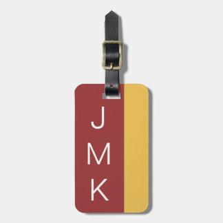 Brick Red Gold Bold Stripe Cusotm Initials Color Bag Tag