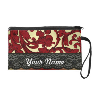 Brick red & gold damask wristlet clutches