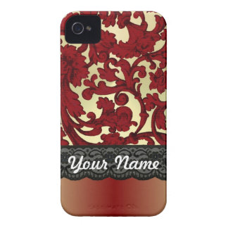 Brick red & gold damask Case-Mate iPhone 4 cases
