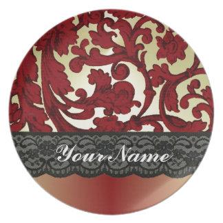 Brick red & gold damask melamine plate