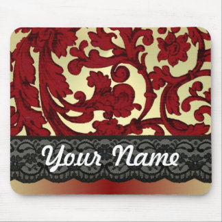 Brick red & gold damask mouse pad