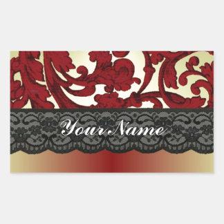 Brick red & gold damask rectangular sticker