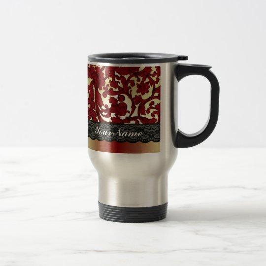 Brick red & gold damask travel mug