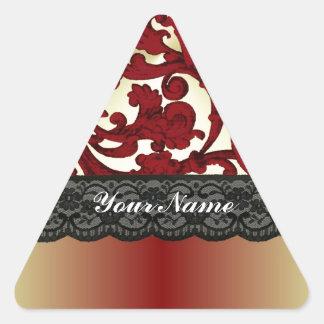 Brick red & gold damask triangle sticker
