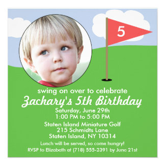 Brick Red Hole in One Photo Mini Golf Party Personalized Announcement