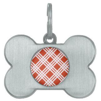 Brick Red Lattice Pet ID Tag