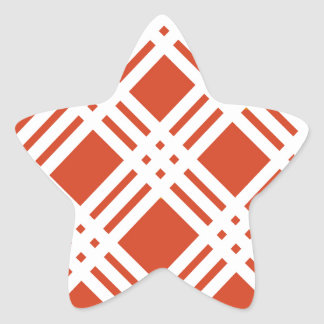 Brick Red Lattice Star Sticker