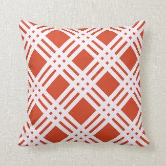 Brick Red Lattice Throw Pillow