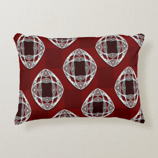 Brick Red Nouveau Checked Pattern Decorative Pillow