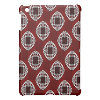 Brick Red Nouveau Checked Pattern iPad Mini Covers