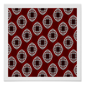 Brick Red Nouveau Checked Pattern Poster