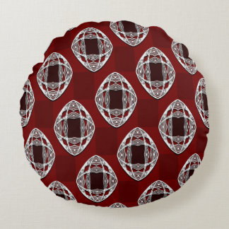 Brick Red Nouveau Checked Pattern Round Pillow