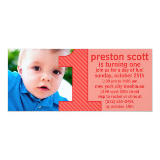 """Brick Red One Is Fun Photo First Birthday Party 4"""" X 9.25"""" Invitation Card"""