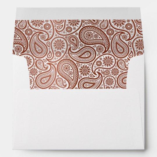 Brick Red Paisley on White Envelope