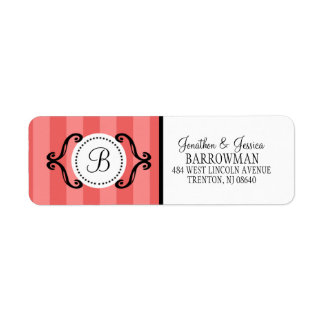 Brick Red Sweet Charming Striped Personalized Label