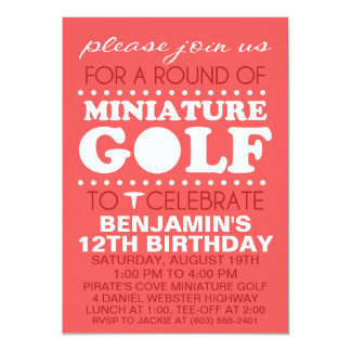 Brick Red Tee Time Miniature Golf Birthday Party Card