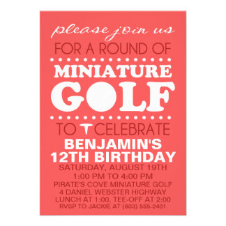 Brick Red Tee Time Miniature Golf Birthday Party Invitations