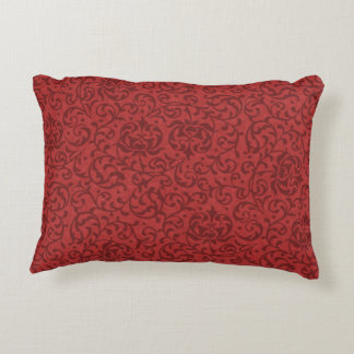 Brick Red Vintage Floral Damask Pattern Accent Pillow