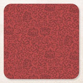 Brick Red Vintage Floral Damask Pattern Square Paper Coaster