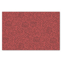 Brick Red Vintage Floral Damask Pattern Tissue Paper