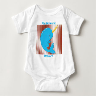 Brick Red-White Stripe•Arctic Narwhal Baby Bodysuit