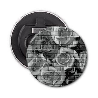 Brick Roses 15 Black White-Round Bottle Opener
