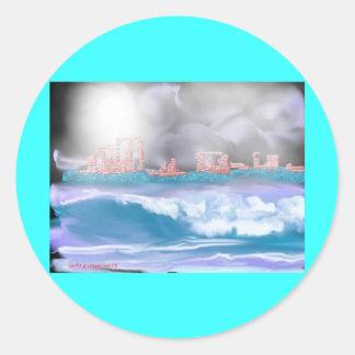 brick seascape-1 classic round sticker