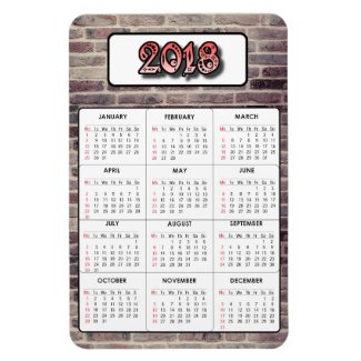 Brick Texture Background 2018 Calendar Magnet